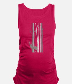 Birch Trees with Deer Maternity Tank Top