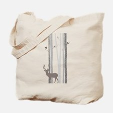 Birch Trees with Deer Tote Bag