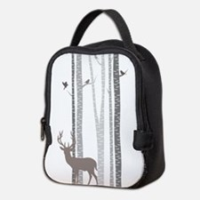 Birch Trees with Deer Neoprene Lunch Bag