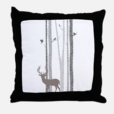 Birch Trees with Deer Throw Pillow