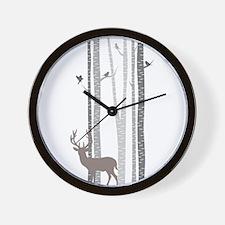 Birch Trees with Deer Wall Clock