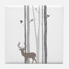 Birch Trees With Deer Tile Coaster