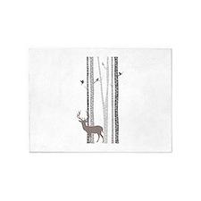 Birch Trees with Deer 5'x7'Area Rug