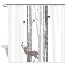Birch Trees With Deer Shower Curtain