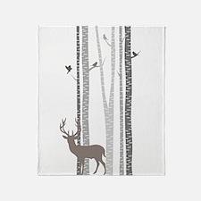 Birch Trees With Deer Throw Blanket