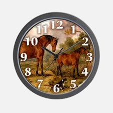 Country Scene Horse Wall Clock