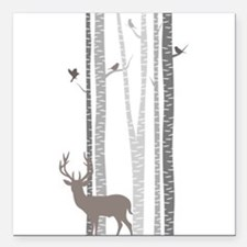 "Birch Trees with Deer Square Car Magnet 3"" x 3"""