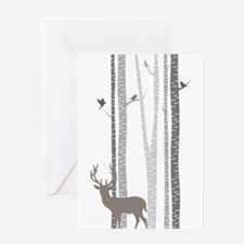 Birch Trees with Deer Greeting Cards