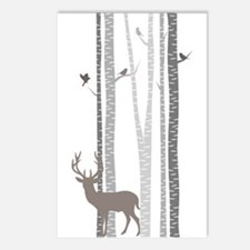 Birch Trees With Deer Postcards (package Of 8)