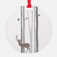 Birch Trees With Deer Ornament