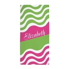 Wiggly Pink Green Personalized Beach Towel