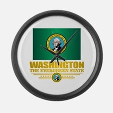 Washington Flag (v15) Large Wall Clock