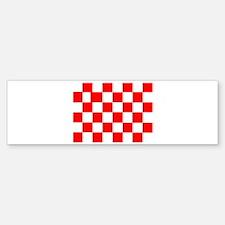 Red White Checkered Flag Bumper Bumper Bumper Sticker