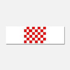 Red White Checkered Flag Car Magnet 10 x 3