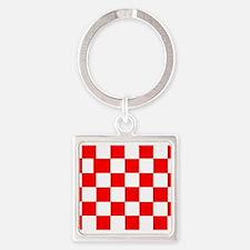 Red White Checkered Flag Keychains