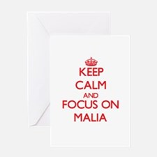 Keep Calm and focus on Malia Greeting Cards