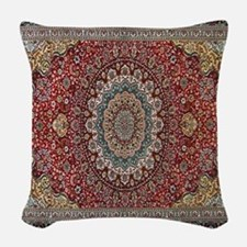Persian Rug Red and Blue Woven Throw Pillow