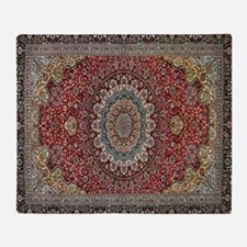 Persian Rug Red and Blue Throw Blanket