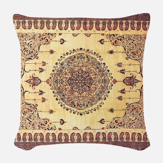 Persian Rug Brown and Tan Woven Throw Pillow