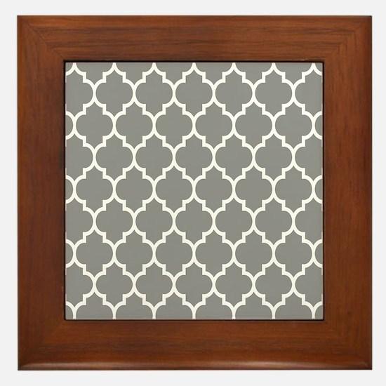 Gray And White Quatrefoil Geometric Pattern Framed