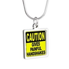 Gives Painful Handshakes Silver Square Necklace