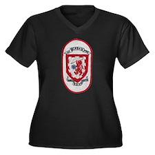 USS BLAKELY Women's Plus Size V-Neck Dark T-Shirt