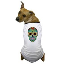 Colorful Retro Flowers Sugar Skull Dog T-Shirt
