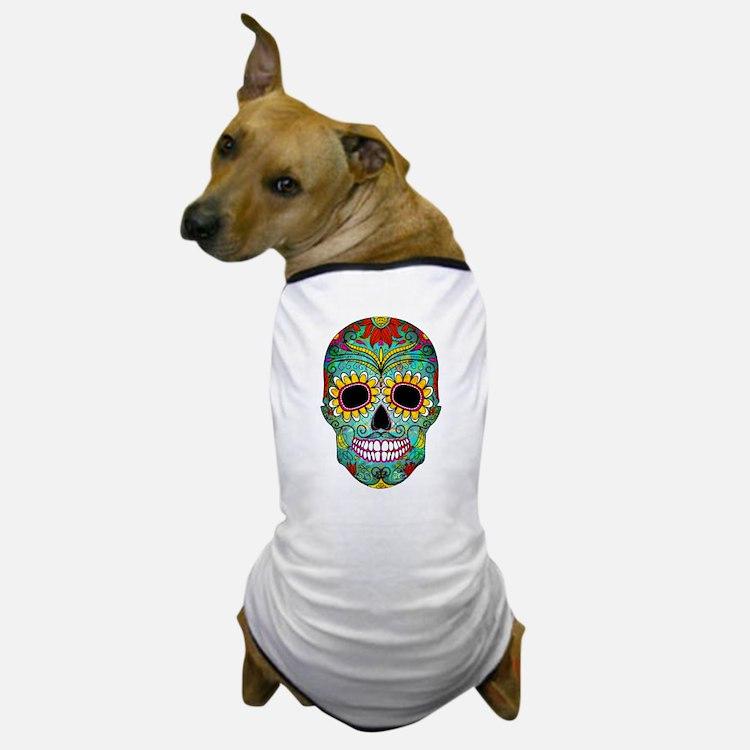 Colorful Retro Flowers Sugar Skull Dog T-Shirt