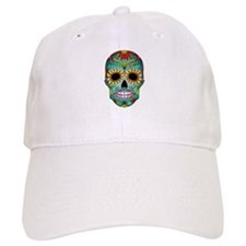 Colorful Retro Flowers Sugar Skull Baseball Hat