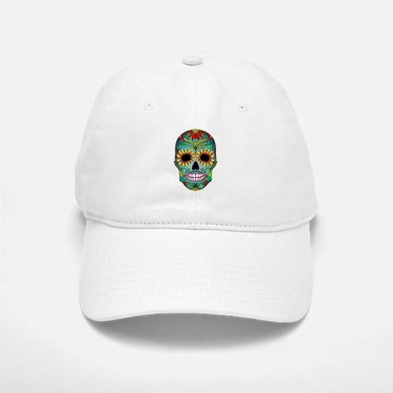 Colorful Retro Flowers Sugar Skull Baseball Hat