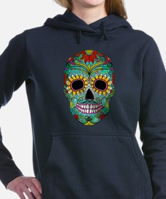 Colorful Retro Flowers Sugar Skull Women's Hooded