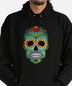 Colorful Retro Flowers Sugar Skull Hoody