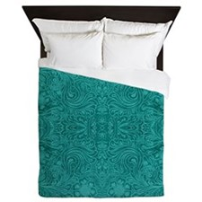 Blue-Green Suede Leather Look Embossed Floral Desi