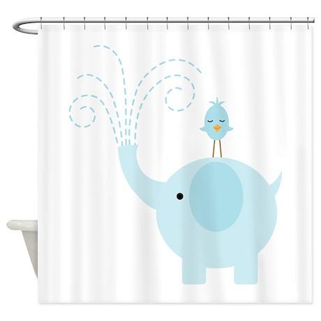 Blue Elephant Shower Curtain