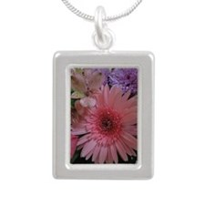 Pink and Purple Flowers Silver Portrait Necklace