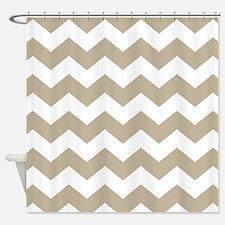 Chevron Zigzag Tan White Shower Curtain