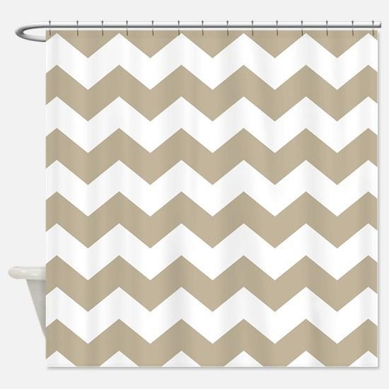 tan and white shower curtain. Chevron Zigzag Tan White Shower Curtain Curtains  CafePress