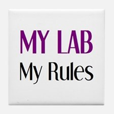 my lab rules Tile Coaster