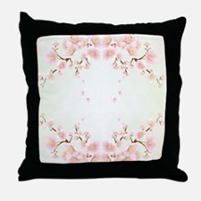 Cherry Blossom In Pink And White Throw Pillow