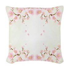 Cherry Blossom In Pink And White Woven Throw Pillo