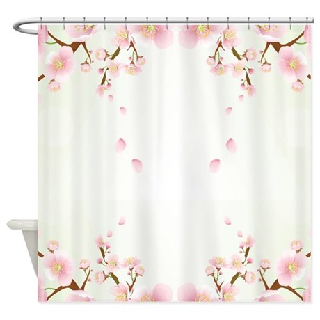 Cherry Blossom In Pink And White Shower Curtain