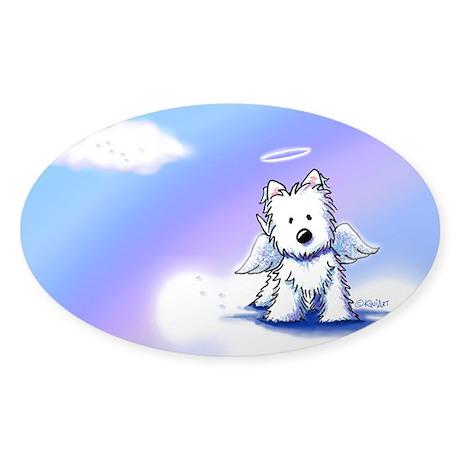 Westie Angel Sticker (Oval)
