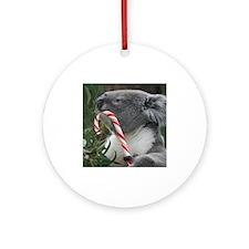 Christmas Koala Candy Cane Round Ornament