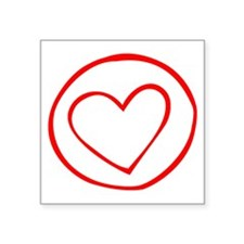 Red Heart Circle Doodle Sticker