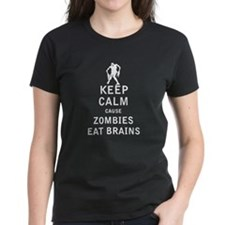 Keep Calm Cause Zombies Eat Brains - White T-Shirt
