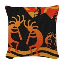 Kokopelli Southwest Woven Throw Pillow