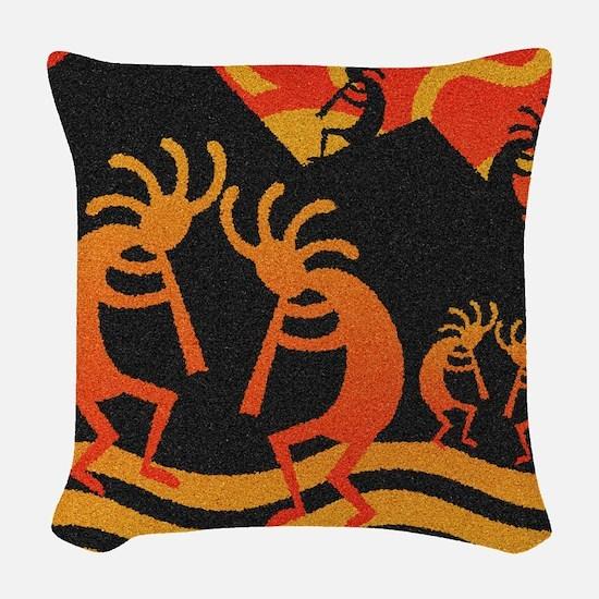 Kokopelli Southwest Woven Throw Pillow
