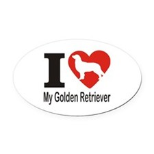 I Heart My Golden Retriever Oval Car Magnet