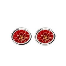 Red Dahlia Closeup Oval Cufflinks