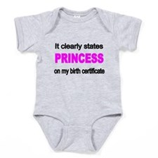 It Clearly States Princess On My Baby Bodysuit